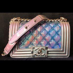 Chanel Runway Small Rainbow Patent Le Boy Flap Bag